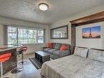 Natural light illuminates the interior of this vacation rental studio.