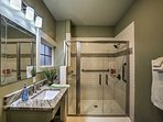 The tile-lined shower is a lovely touch.
