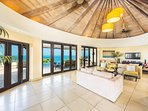 Spacious living area, ocean views