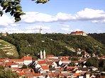Blick vom 'Schweigenberg' auf historische Altstadt von Freyburg/Unstrut