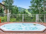 Soak away the day in the communal hot tub, just a short walk from the unit.