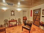 The casita has an old adobe ambiance, with spanish terracotta floors & folk art.