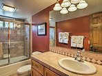 Get ready each morning in this nice full bathroom.