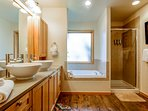 Spacious Master bathroom with separate tub and shower