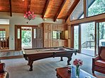 Shoot some pool or mix a drink at the wet bar.