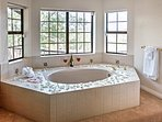 There's also a large tub, ideal for relaxing before bed.