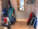 Large walk in closet in the master bedroom to store beach supplies, suitcases, and beachwear!