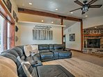 The large sectional offers plenty of seating for your group.