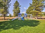 Kids will love playing on the swing set!