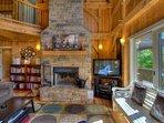 2 story rock fireplace