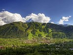 The town of Aspen sits right at the base of Aspen Mountain.  Photo courtesy Aspen Chamber Resort Association, Jeremy...