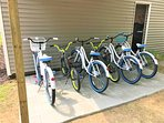 Ride one of our 6 new bikes:  4 adult and 2 kids bikes