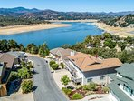 NEW LISTING! Enjoy lake views from living room or redwood deck, shared pool!