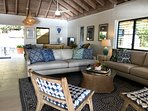 The comfortable Pottery Barns sofas beckon you to relax and gaze at the Caribbean Sea.