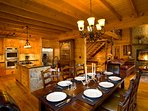 Fully Equipped Gourmet Kitchen Opens up to Gorgeous Dining Area for up to 10
