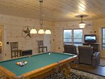 Terrace Level Family Room featuring Billiards, Movie Seating & Flat Screen TV