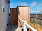 Enclosed out door shower with hot and cold water - A Cape Cod Tradition - Enjoy! - 1 Bayberry Lane Eastham Cape Cod...