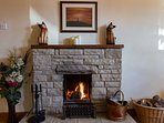 Roaring open log fire great for cooler days!