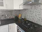 Large modern hob, and plenty of cooking equipment. And loads of preparation space.