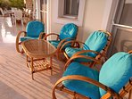 Comfortable seating on the wide terrace.