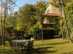 Have your evening tea in one of the gardens with a beautiful view of this holiday villa in Kasauli