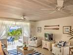 Living room with views through to the Caribbean sea