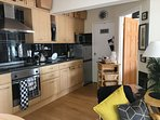 fully equipped kitchen hob oven fridge freezer washer