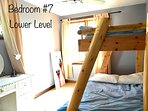 7th bedroom, lower level with bunk bed (double and twin)