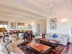 The spacious living and lounge area with french windows overlooking the veranda