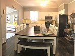 Kitchen, farmhouse style, is fully equipped - room for the family! Dining for 14