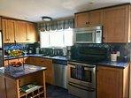 kitchen with lake views.