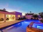Outdoor living, with custom pool, spa and baja shelf