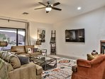 Remodeled Family Room, leather couches, 70' TV and fireplace!