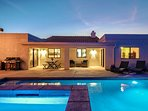 Outdoor living, with custom pool, spa, baja shelf, and LED lights