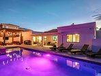 Outdoor living, with custom pool, spa with LED lights!