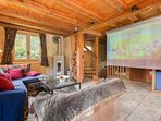 Living room with overhead projector