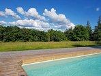 piscine avec plage en bois