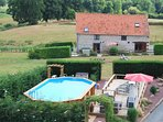 The Barn with large private garden and pool area with large sun terrace, sunbeds and solar shower