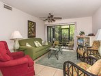 Ground floor unit in popular Sea Woods. Plenty of seating for entertaining or relaxing.