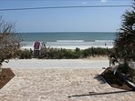 Oceanfront views of the car free beach with plenty of parking for a boat or trailer.