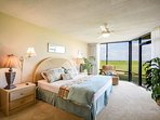 Enjoy ocean views from the oceanfront master bedroom with king size bed, TV, DVD and private bath.