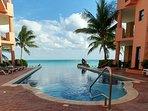 Infinity pool overlooks beach
