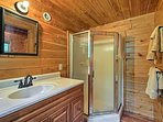 Rinse off for the day in this walk-in shower.