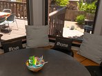 The breakfast nook looking out over the deck and backyard. A beautiful place to start your day!