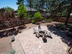 Warming the soul in the evening. The Flagstone patio & fire pit as seen from the deck above.