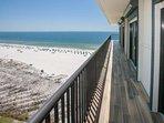 Wrap around balcony with views of beach and Gulf