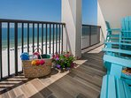 Private tiled balcony overlooking the beach and Gulf
