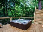 Room for 7 to relax in this sunken hot tub