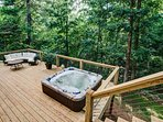 The walk down to the lower deck and sunken hot tub