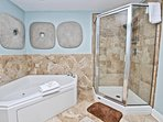 Glass Shower and Jacuzzi Tub